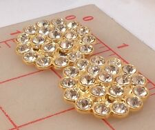 """12 vintage gold metal Czech shank buttons covered w clear rhinestones 1.25"""" 1004"""