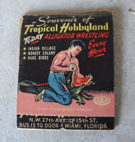 Unique Vintage Large Matchbook Tropical Hobbyland Alligator Wrestling
