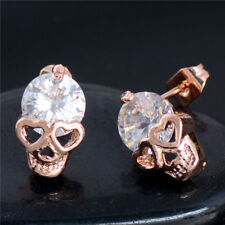 Gold Plated Skull CZ Crystal Ladies Stud Earrings Fashion Jewellery - UK SELLER