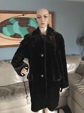 Gallery Dark Brown Faux Mink Fur Coat Swing Winter Jacket Made In USA Woman's S