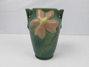 Roseville Clematis Pattern Green & Pink Vase 105-7 Vintage Old ROSEVILLE POTTERY
