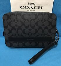 NEW Men's Coach Signature PVC Pouchette  in Charcoal/Black F58541 $325