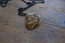 Hand Made Etched Guitar Pick Necklace Bass Clef