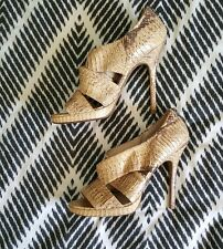 WITCHERY Full Leather Snakeskin Animal Eel Brown Strappy Heels Stilletos Size 40