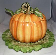 Fitz & Floyd Pumpkin 5 Qt Soup Tureen, Ladle and Platter EUC Mint!