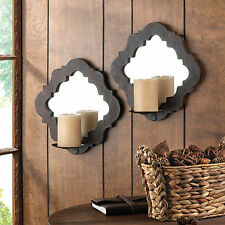 WALL SCONCE SET: 2 Damask Mirrored Wall Sconce Candle Holders NEW