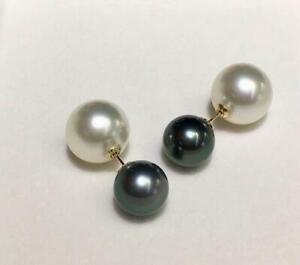 Fashion AAA+ 10-11mm real natural South sea black white round pearl earrings 18k