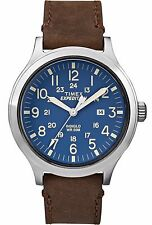 "Timex TW4B06400, Men's ""Expedition"" Brown Leather Watch, Scout, Indiglo, Date"