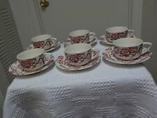 SET OF SIX Beautiful ROYAL CHINA  PINK TRADITION  CUPS AND SAUCERS