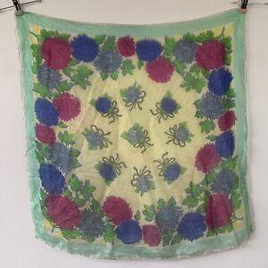 "Vintage Silk Style Chiffon Head Scarf Floral Sheer 30"" Square 50s Rockabilly"