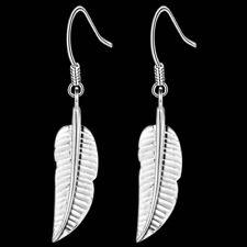 925 Sterling Silver Leaf/Feather Drop Dangle Earrings + Bag Women's UK