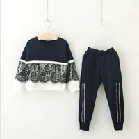 Toddler Kids Baby Girls Autumn Outfits Clothes Lace T-shirt Tops+Pants 2PCS Set