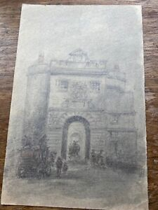 Antique Pencil and Wash, The Old Southwark Gateway, London