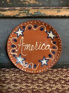 "Turtlecreek Potters-Redware Plate-America design- 6 1/2"""