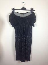 MAJE Black Lace Short Sleeve Dress Size 8 Gold Zip Back NEW BF