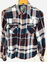 Levis Strauss Mens Western Shirt Size Small Red Buton Up Plaid Pearl Snap M3