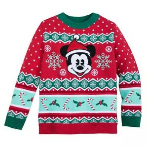 Disney Store Mickey Mouse Holiday Sweater for Boys Red Christmas Top Shirt New