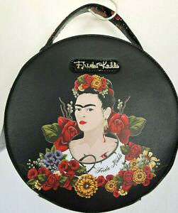 FRIDA KAHLO Flower Series Black Unique Round Handbag Messenger Bag