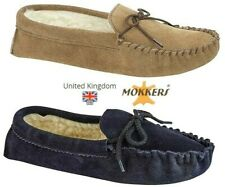 MENS MOCCASIN SLIPPERS  REAL SUEDE  NAVY BLUE TAUPE SIZES 6 - 13 UK