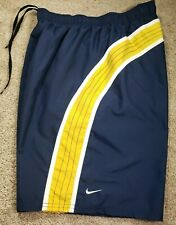 New! NIKE-Navy/Yllw/Wht Perform.Poly, Mens Mesh Lined Summer Swim Trunks-(L)