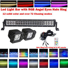 """22"""" LED Light Bar + Flush Moun Cube Pods w/ RGB Halo Ring Chasing For Jeep Truck"""