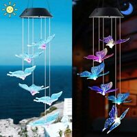 Solar Power Wind Chime Light LED Garden Hanging Spinner Lamp Colorful Yard Decor