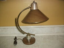 Vintage Arched Arm Desk Table Task Light Lamp Faux Wood Metal Swivel Cone Shade