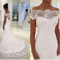 Off Shoulder Lace Mermaid Wedding Dresses White Ivory Bridal Gown Custom SIZE