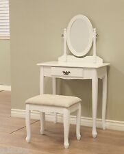 3-Piece Vanity Set Table Dresser White Finish Drawer Seat Mirror Vintage New