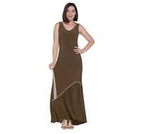 Attitudes by Renee Regular Como Jersey Maxi Dress w/ Ruffle Hem Green, X-Large