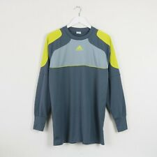 VINTAGE GREY & YELLOW ADIDAS LONG SLEEVE FOOTBALL SHIRT TOP JERSEY | MEDIUM