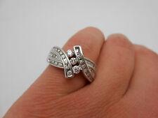 Heavy Modern 14K White Gold Gorgeous VS Diamond Three Stone Design Ring Size 7