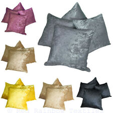 """Set of 4 Crushed Velvet 18"""" / 45 cm Cushion Covers Piped Edges - Many Colours"""