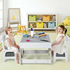 Kids Table Chairs Set With Boxes Blackboard Whiteboard Drawing  Play Set Grey