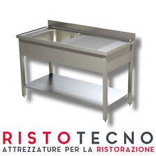 Lavatoio Lavello inox 1 vasca con sgocciolatoio DESTRO. Cm. 130x60x85H.