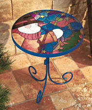Stained Glass Snowman Accent Table Indoor Side Table Patio Table Garden Decor