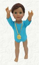 Doll Clothes Gymnastics Leotard Aqua with Medal Fits 18 inch American Girl
