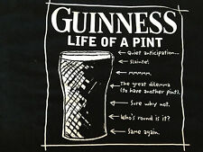 Official Guinness Merchandise Beer Life Of A Pint Black T Shirt L Pre-Owned
