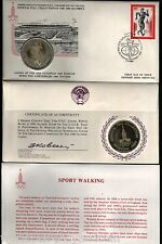 RUSSIA 1980 MOSCOW OLYMPIC SILVER SPORT WALKING COIN + FDC UNC STAMP MONEY