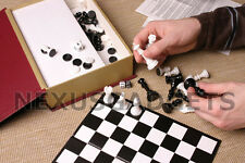 Chess Checkers Backgammon Board Game Set Storage Case Box Pieces RED BOOK STYLE