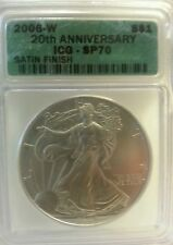 2006 W SILVER EAGLE MS70 SP70 20TH ANNIVERSARY ICG