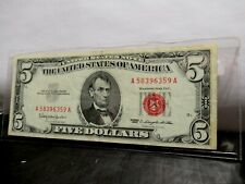 Rare 1963 Red seal $5 Note Hand PickedCirculated condition 1