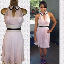 Karen Millen Pink Pleated Silk Dress UK 14 or 16 Collared Cocktail DQ278