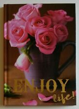 """Journal Notepad Notebook 60 Lined Sheets 5"""" x 7"""" ~ Cup of Pink Roses Enjoy Life!"""