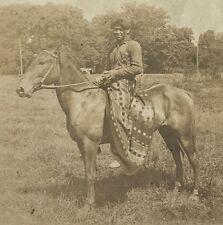 Antique c1920 Native American Indian Boy Horseback Wild West Show Sports Photo