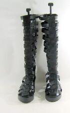 "New Black strap 2"" Block Low Heel Back Zip Gladiator Knee sandal Size 10"