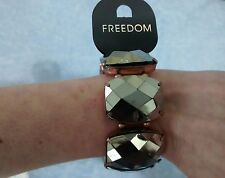 "Topshop ""Freedom"" Gunmetal Silver/Rose Gold Faceted Stretch Bracelet BNWT"