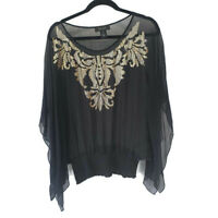 Karen Kane Large Silk Blouse Black Gold Embelished Top Semi Sheer Batwing Medium