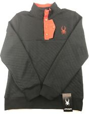 $150 Spyder Mens Size Large Quilted Button Pullover Sweater Black Red New NWT