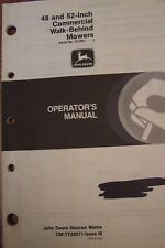 "JOHN DEERE OPERATOR'S MANUAL 48"" & 52"" COMMERCIAL WALK BEHIND MOWERS"